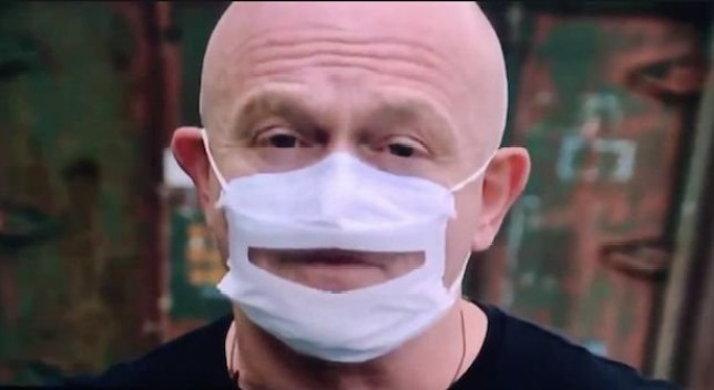Fans confused by Ross Kemp's face mask with a mouth hole