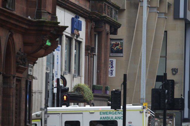 The Park Inn hotel at the scene in West George Street, Glasgow, where a man has been shot by an armed officer after another officer was injured during an attack. PA Photo. Picture date: Friday June 26, 2020. The man shot by armed police in Glasgow city centre has died, Police Scotland assistant chief constable Steve Johnson confirmed, and six other injured people are in hospital including a police officer. See PA story POLICE WestGeorgeSt. Photo credit should read: Andrew Milligan/PA Wire