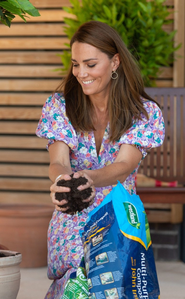 EMBARGOED: No onward transmission before 2100 BST Sat 27/6/2020. Not for publication before 2200 BST Sat 27/6/2020. The Duchess of Cambridge helps to pot plants and herbs during a visit to The Nook in Framlingham Earl, Norfolk, which is one of the three East Anglia Children's Hospices (EACH). PA Photo. Picture date: Thursday June 25, 2020. The Duchess is the Royal Patron of the charity which offers care and support for children and young people with life-threatening conditions and their families across Cambridgeshire, Essex, Norfolk and Suffolk. See PA story ROYAL Kate. Photo credit should read: Joe Giddens/PA Wire