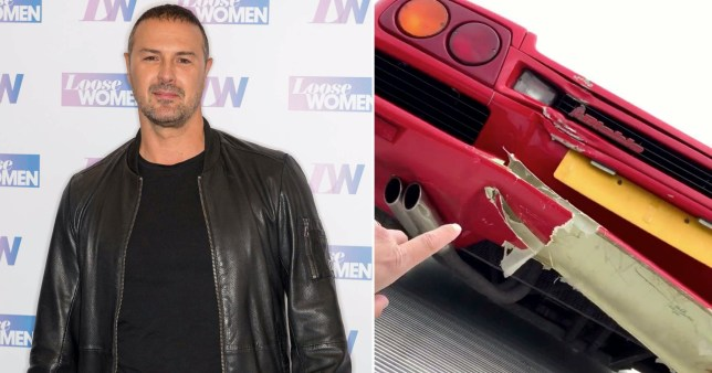 Paddy McGuinness pictured in Loose Women studios alongside photo of damage to Lamborghini he crashed