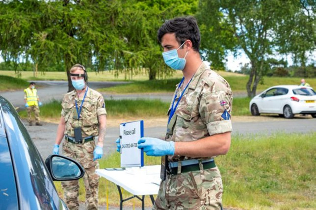Ministry of Defence staff at a coronavirus testing unit in the UK