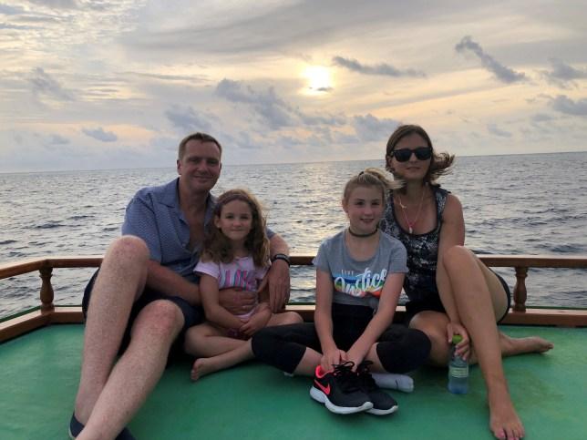 (L-R) Barry, Josephine, Georgina and Karolina Seath on a boat