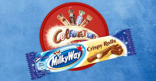B&M selling boxes of celebrations with Milky Way Crispy Rolls Pics: Mars