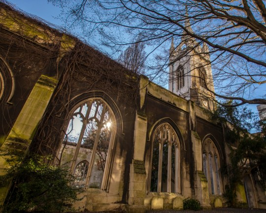 The historic ruins of St. Dunstan in the East church in the city of London, UK
