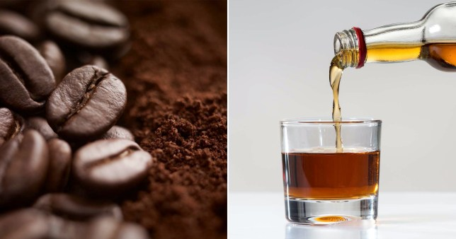 Coffee beans and a glass of alcohol