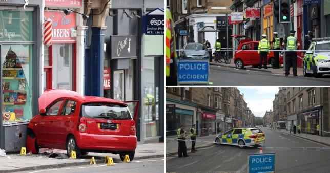 Child dies after car mounts pavement in Edinburgh.