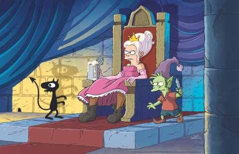 Television programme: Disenchantment Princess Bean (Abbi Jacobson), flanked by the feline demon Luci (Eric Andre) and Elfo the elf (Nat Faxon)