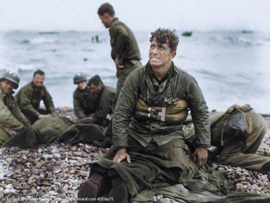 Une photo colorisée du jour du débarquement en Normandie en juin 1944.