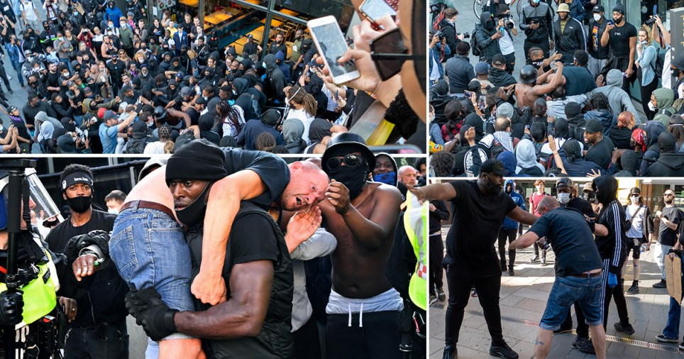 New pics showing what happened before man had to be saved by Patrick Hutchinson during BLM protest