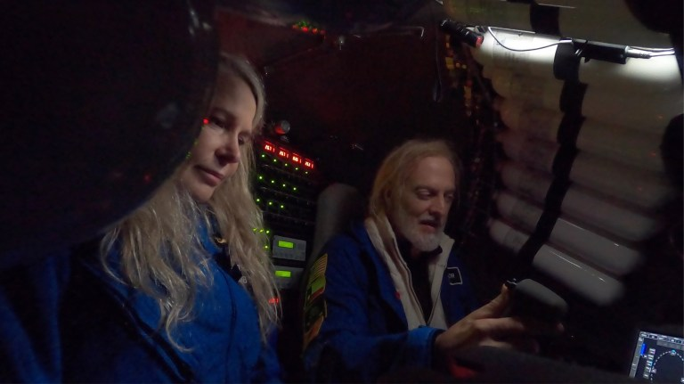 Vanessa and Victor mapping Challenger Deep, the deepest point on the planet, from the sub (Picture: Vanessa O'Brien)