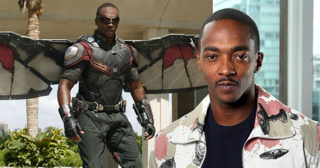 Anthony Mackie pictured separately alongside still of him as Falcon