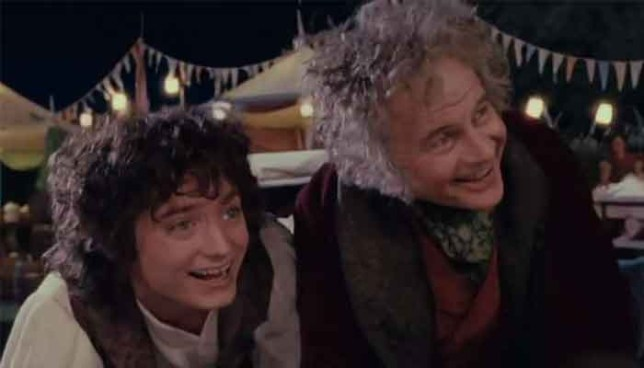 Elijah Wood and Ian Holm in Fellowship of the Rings