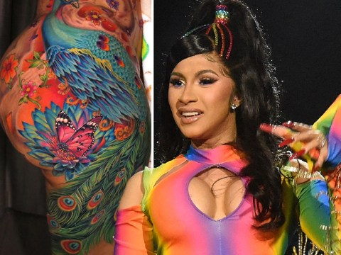 Cardi B endures 'hours of pain' to get huge peacock tattoo redone after 10 years