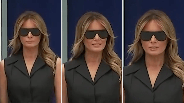 Grabs of Melania grimacing