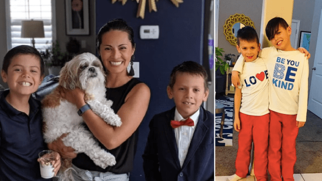 Photo of Sandra Ang with her sons next to photo of the boys