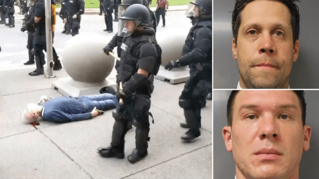 Photos of protester being shoved next to mugshots of cops who shoved him