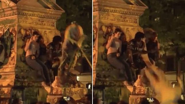 Des manifestants s'emparent d'un monument où une statue tombante a blessé un militant