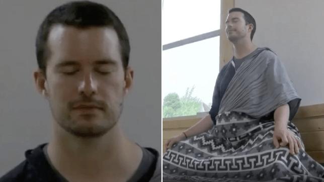Photos d'un homme méditant