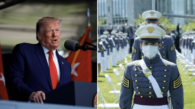 Photo of Donald Trump next to photo of masked US Army graduates