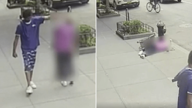 Grabs of woman being struck and falling to ground