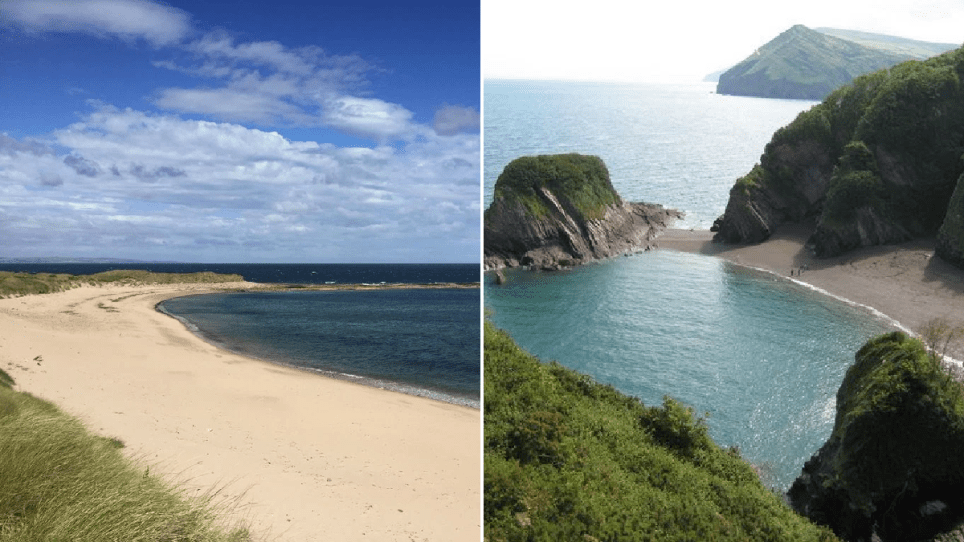 Split image of Coves Haven, Holy Island, Northumberland and Broad Sands, Combe Martin, Devon