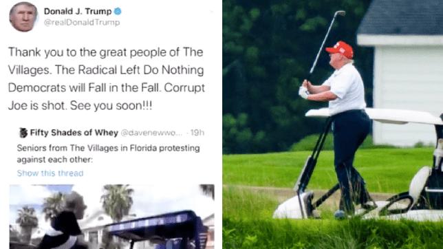 Screengrab of Donald Trump tweet next to photo of Donald Trump golfing