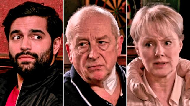 Imran, Geoff and Sally in Coronation Street