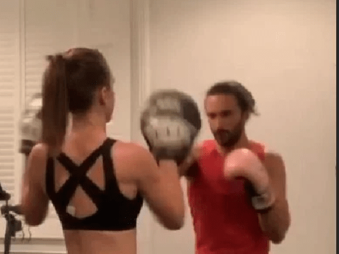 Joe Wicks 'lets off steam' as he enjoys boxing workout with wife Rosie