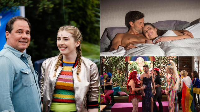 Grant and Mackenzie, Pierce and Chloe, Ned, Sheila and Courtney Act in Neighbours