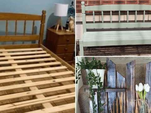 Expert upcycler picks up old bed frame for free and turns it into a bench and plant shelf