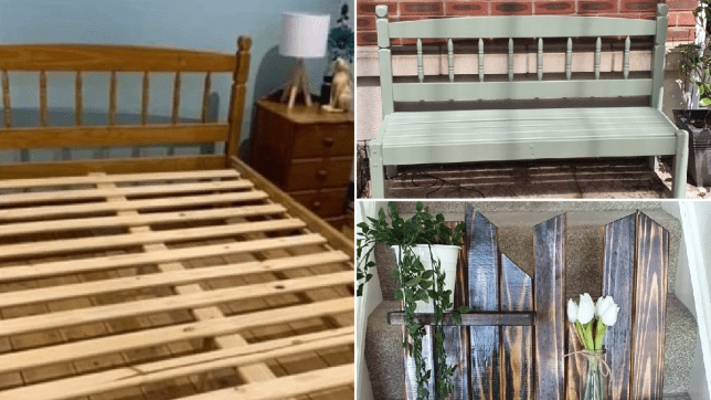 hellan pearce's DIY upcycling project sees an old bedframe turned into a garden bench and a plant shelf