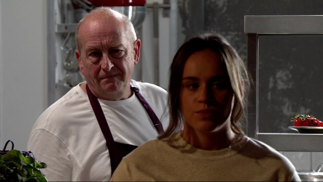 Geoff scares Faye in Coronation Street