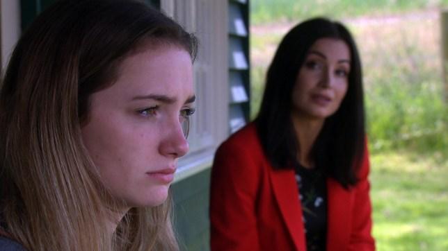 Rosie Bentham and Roxy Shahidi as Gabby and Leyla in Emmerdale