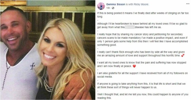 Gemma Sisson said the post was intended to comfort her loved ones by assuring them she was 'finally at peace' (Picture: SWNS)