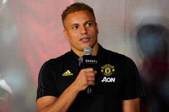 Wes Brown speaking at a Manchester United event