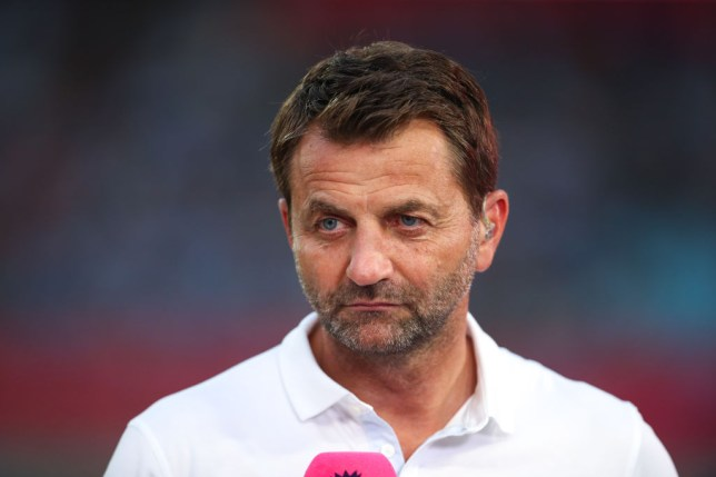 Tim Sherwood reporting for Premier League during to the Premier League Asia Trophy 2019 fixture between Newcastle United and Wolverhampton Wanderers at Nanjing Olympic Sports Centre on July 17, 2019 in Nanjing, China.