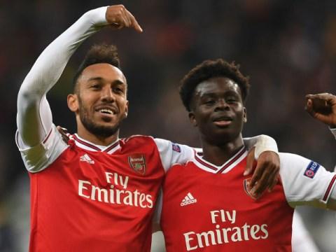 Pierre-Emerick Aubameyang and Arsenal team-mates react to Bukayo Saka signing new contract