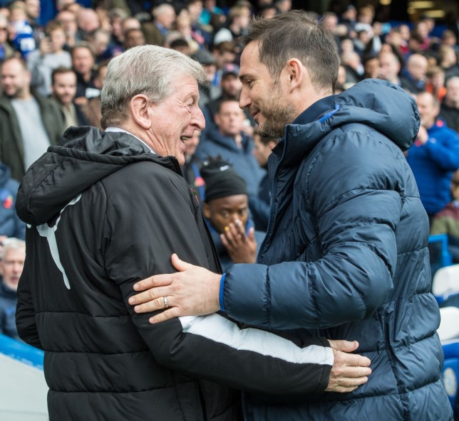 Roy Hodgson embraces Frank Lampard before Crystal Palace's Premier League defeat at Chelsea