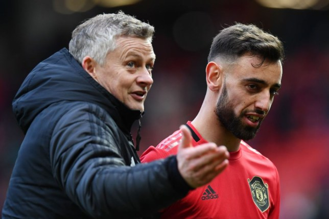 Bruno Fernandes and Ole Gunnar Solskjaer react to Manchester United's Europa League draw