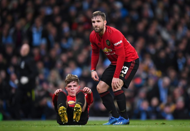 Brandon Williams and Luke Shaw after Manchester United's Carabao Cup clash with Manchester City