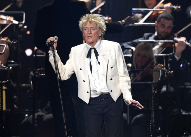 Sir Rod Stewart performing