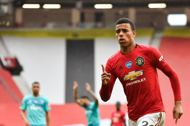 Mason Greenwood celebrates scoring in Manchester United's win over Bournemouth in the Premier League
