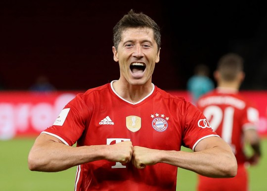 Bayern Munich's Polish forward Robert Lewandowski celebrates scoring during the German Cup (DFB Pokal) final football match Bayer 04 Leverkusen v FC Bayern Munich at the Olympic Stadium in Berlin on July 4, 2020.