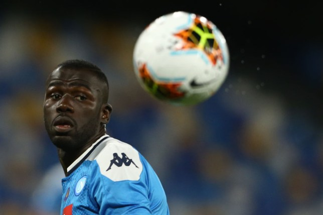 SSC Napoli's Senegalese defender Kalidou Koulibaly  look the...