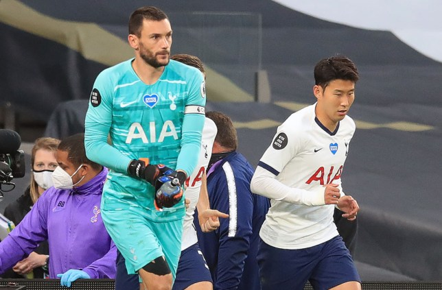 Hugo Lloris and Son Heung-min shortly after their clash in Tottenham's Premier League clash with Everton