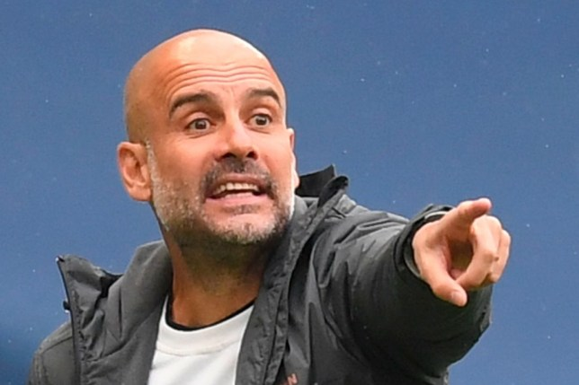 Pep Guardiola issues orders to his Man City players