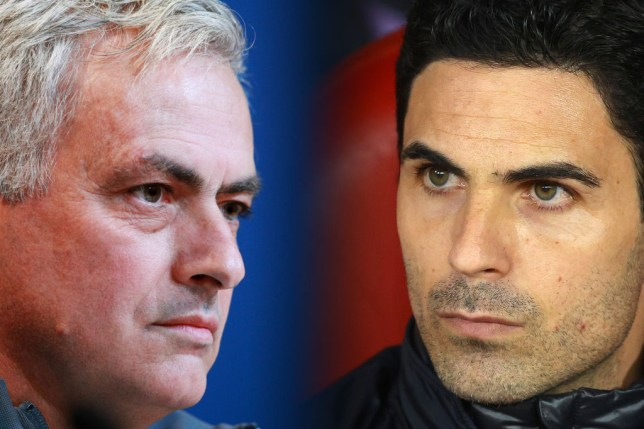 Mikel Arteta will face Jose Mourinho for the first time as a manager in Sunday's north London derby