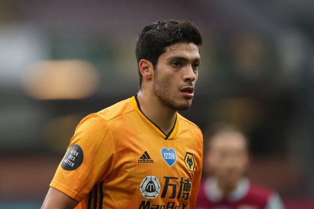 Raul Jimenez of Wolverhampton Wanderers during the Premier League match between Burnley FC and Wolverhampton Wanderers at Turf Moor on July 15, 2020 in Burnley, United Kingdom. Football Stadiums around Europe remain empty due to the Coronavirus Pandemic as Government social distancing laws prohibit fans inside venues resulting in all fixtures being played behind closed doors.
