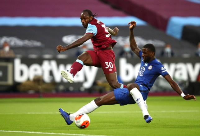 Michail Antonio and Antonio Rudiger battling for the ball during West Ham's victory over Chelsea in the Premier League