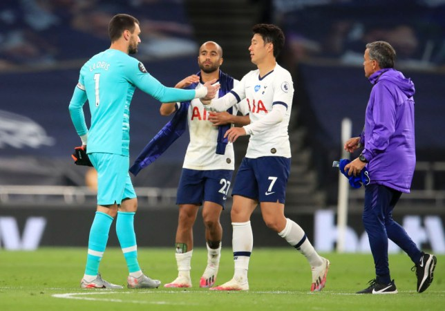 Hugo Lloris shakes hands with Son Heung-min after Tottenham's Premier League win over Everton